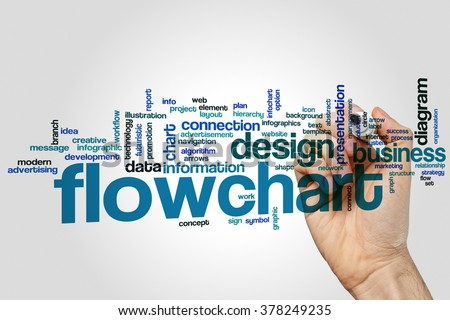 Flowchart word cloud concept with diagram information related tags - stock photo
