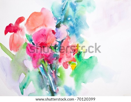 flower, Abstract Water Color - stock photo