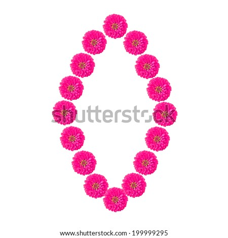 flower alphabet O isolated on white background - stock photo
