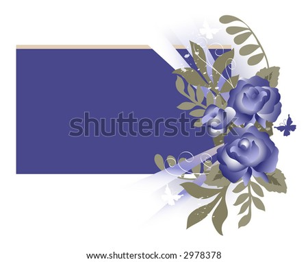 Flower and butterfly Background including blue roses and foliage over white. Illustration. - stock photo