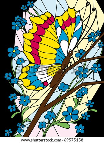 Flower and butterfly stained-glass background (raster version) - stock photo