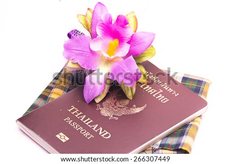 Flower and Passport pattern on the cloth Thailand. - stock photo