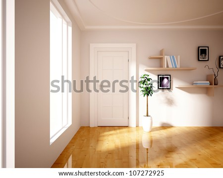 flower and shelves in the room - stock photo