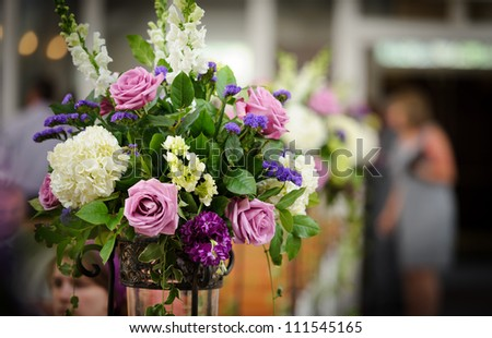 Flower arrangement at the wedding ceremony - stock photo