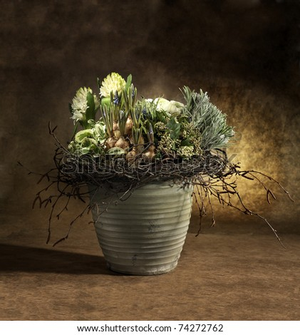 flower arrangement, autumn scene - stock photo