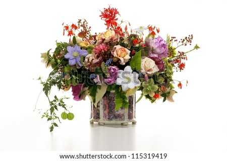 Flower Arrangement in Vase - stock photo