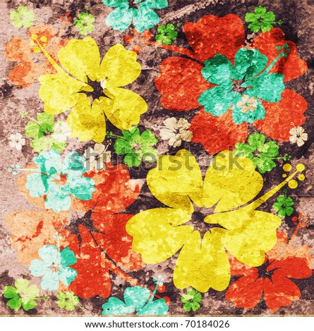 flower artistic background in grunge style - stock photo