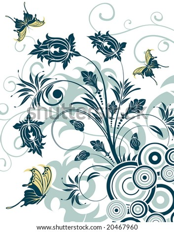 Flower background with butterfly and circle, element for design, illustration