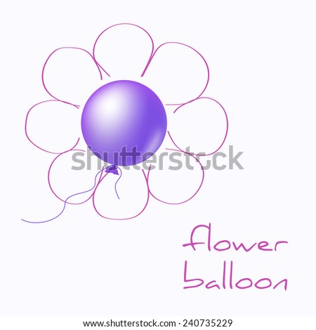 Flower balloon with hand drawn petals - stock photo
