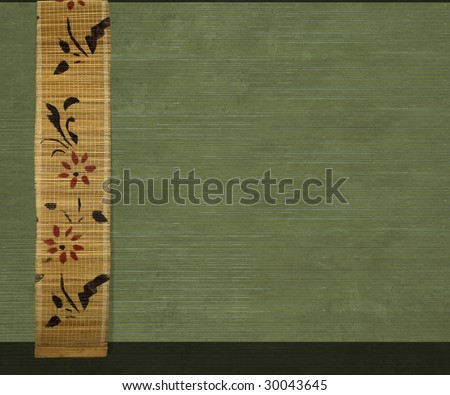 flower bamboo banner on olive ribbed wood background - stock photo