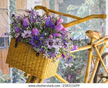 Flower Basket and bike - stock photo