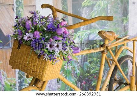 Flower Basket and bike - stock photo