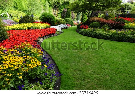 Flower bed found in Butchart Garden, Victoria Island, Canada - stock photo