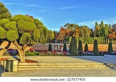 flower beds in Buen Retiro Park, Madrid, Spain - stock photo