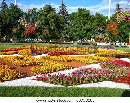 Flower beds in streets of Moscow - stock photo