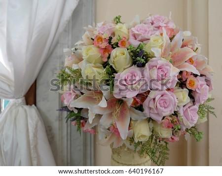 Flower Bouquet Beautiful Bouquet White Vase Bouquet Flowers Stock