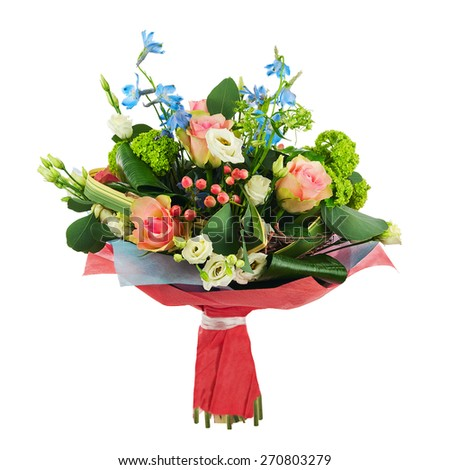 Flower bouquet from multi colored roses, iris and other flowers arrangement centerpiece isolated on white background. - stock photo
