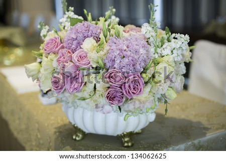 Flower bouquet in a vase - stock photo