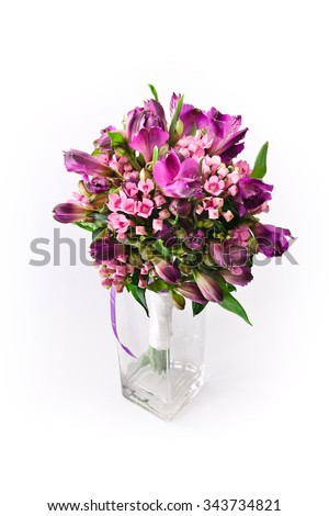 Flower bouquet on white background  - stock photo