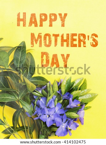 flower  bouquet. Romantic date, invitation, sweet wish concept. Happy Mother's day card - stock photo