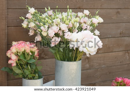 flower bouquets , bunch of Rose, Lisianthus and Peony flowers - stock photo