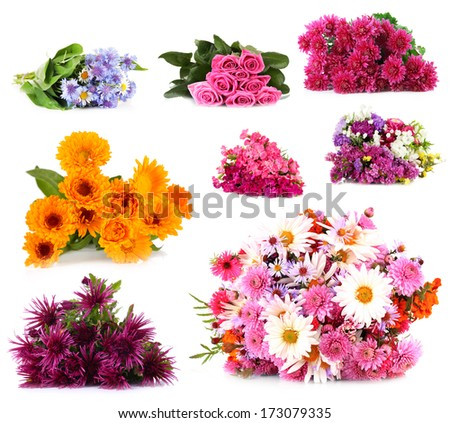 Flower bouquets isolated on white - stock photo
