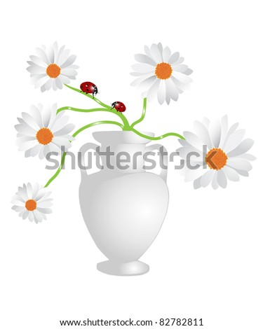 Flower bowl with bouquet of camomiles - stock photo