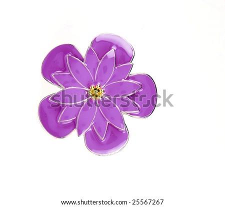 flower brooch - stock photo