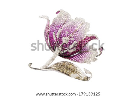 flower brooch isolated on white background - stock photo
