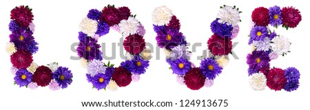 Flower buds forming a love letter on a white background.  Love - Say it with flowers. - stock photo