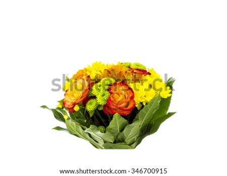 Flower bunch made of Chrysanthemum, Roses, Alstroemeria, Gerber and Carnation flowers - stock photo