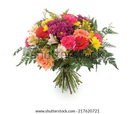 Flower bunch made of Chrysanthemum, Roses, Alstroemeria, Gerber and Carnation flowers. Isolated on white. - stock photo