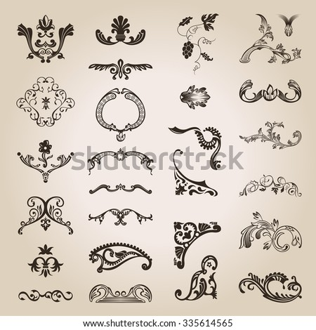 flower calligraphic vintage royal design elements. Vector illustration - stock photo