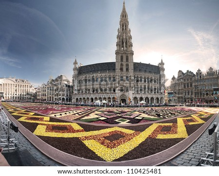 Flower carpet in Brussels, 2012 - stock photo