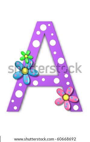 Flower Child Alphabet Set A is polka dotted and decorated with pink and blue flowers. - stock photo