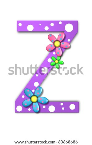 Flower Child Alphabet Set Z is polka dotted and decorated with blue and pink flowers.