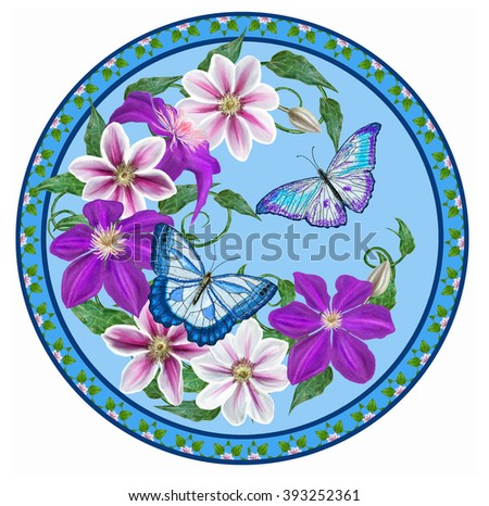 Flower clematis pink and purple, bright butterflies in the circle. Round form. Painting. - stock photo