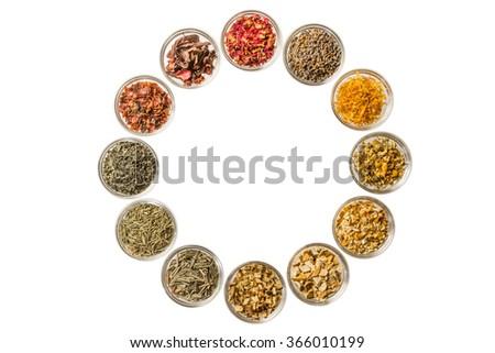 Flower clock of the herb tea - stock photo