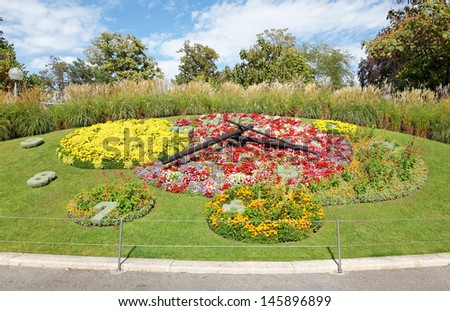 Flower Clock on Geneva city lakefront - stock photo