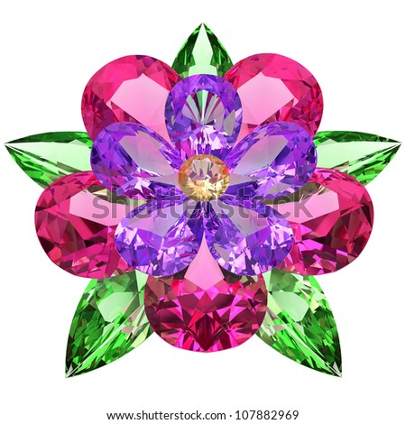 Flower composed of colored gemstones on white background. High resolution 3D image - stock photo