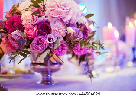 flower composition of hydragea, carnation and roses - stock photo