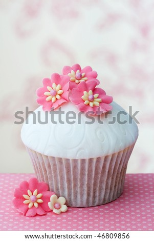 Flower cupcake - stock photo