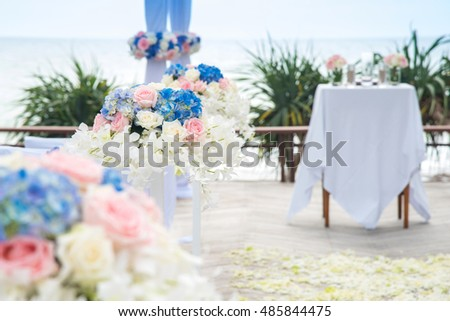 Flower decorations for wedding ceremony