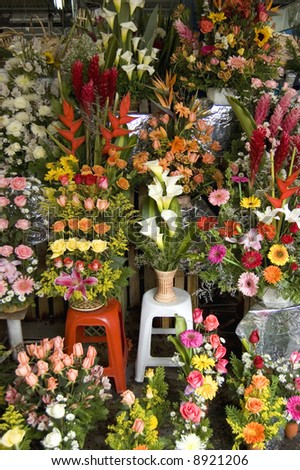 Flower Display in a market in Mexico City - stock photo