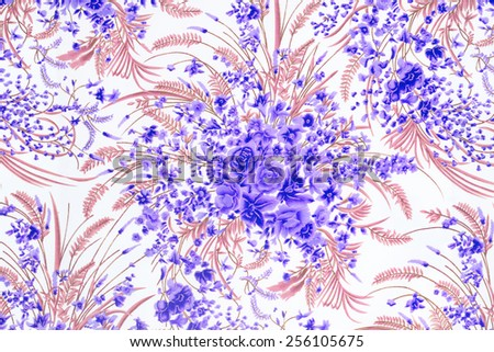 Flower Fabric background, Fragment of colorful retro tapestry textile pattern with floral ornament useful as background - stock photo