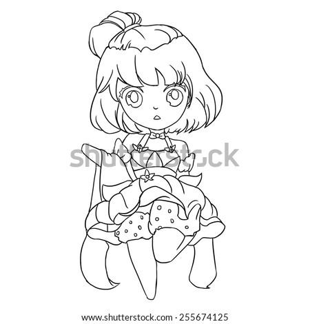 Flower Fairy Line Art - Character Design - stock photo