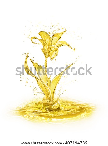 flower figure made of water on white background