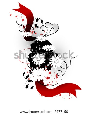 Flower, foliage and swirl background. Red white and black. - stock photo