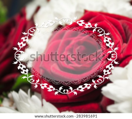 Flower frame. Floral border. Bouquet of red roses and flowers - stock photo