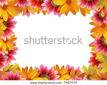 Flower frame with space for copy - stock photo